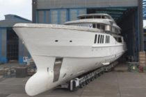 Benetti's FB269 Spectre at Livorno shipyard for out fitting