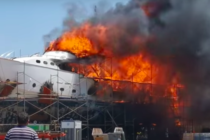 Classic superyacht Monaco engulfed by fire