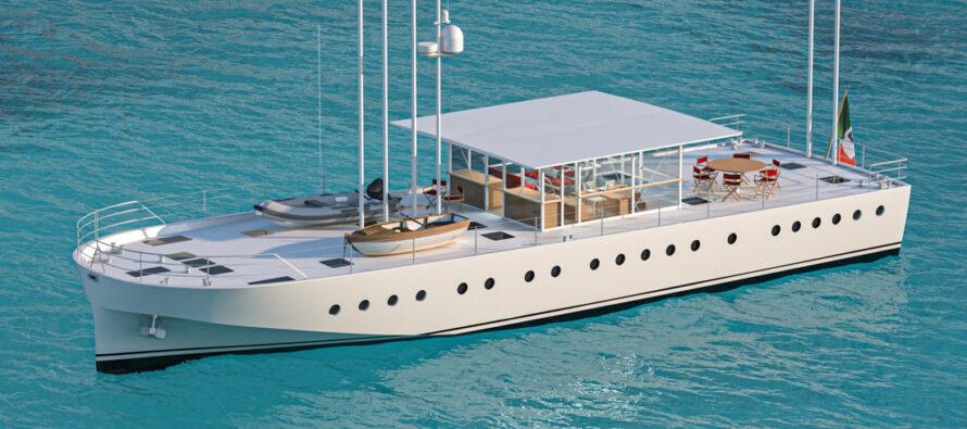 Wooden-hybrid yacht Zattera in-build